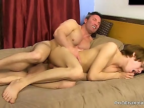 Daddy has some fun by kissing and fucking young twink